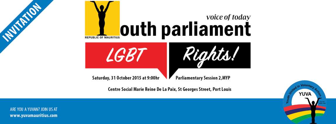 Facebook cover: LGBT Rights in Mauritius, Mauritius Youth Parliament, Session 2